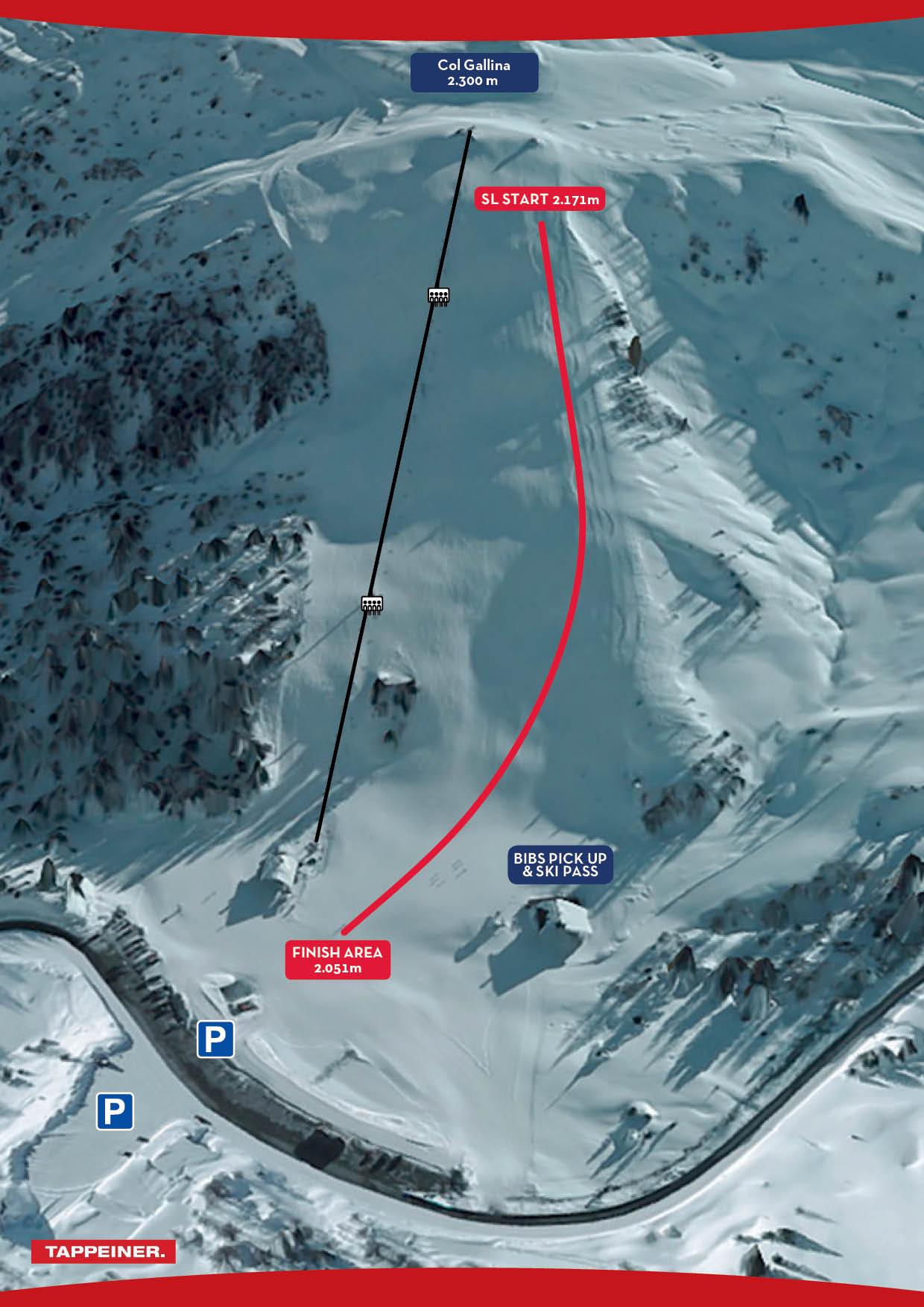 Pista Col Gallina al Passo Falzarego